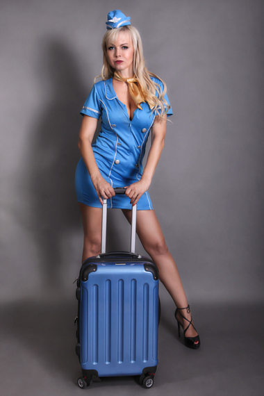 Partystrip als Flugbegleiterin - Chantal-Strip.com